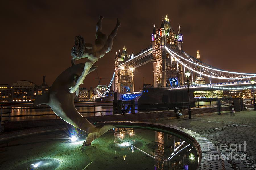 Dolphin Statue Tower Bridge Photograph