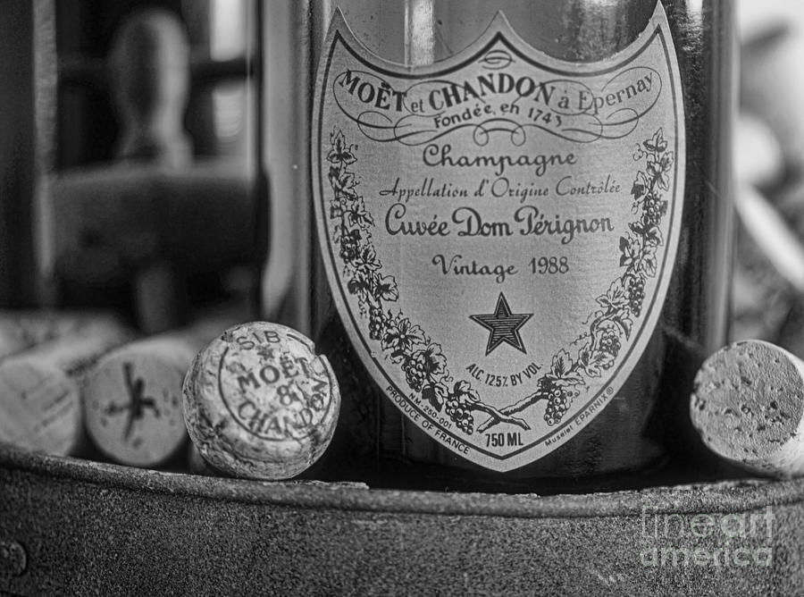 Dom Perignon In Black And White Photograph