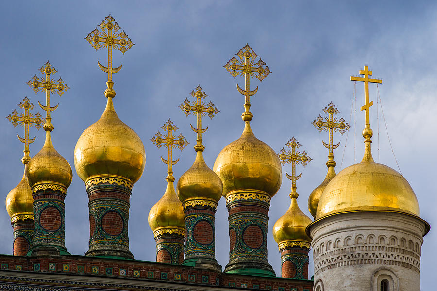 Domes Of The Church Of The Nativity Of Moscow Kremlin - Featured 3 Photograph  - Domes Of The Church Of The Nativity Of Moscow Kremlin - Featured 3 Fine Art Print