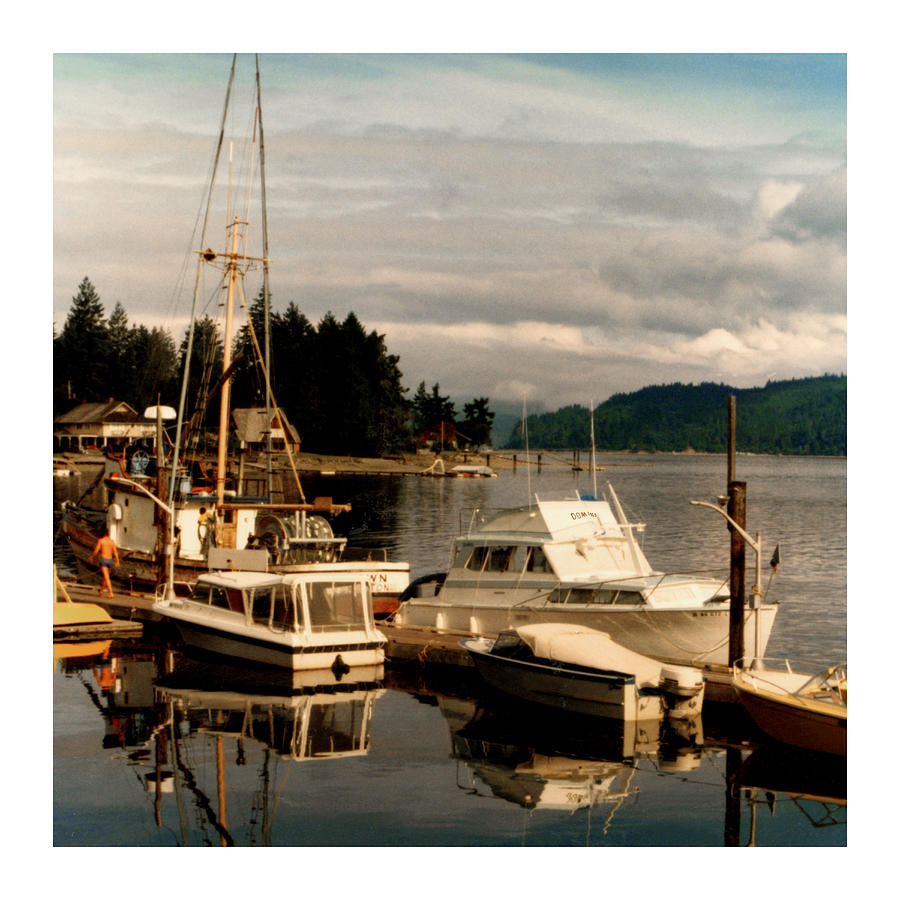 Old Photos Of Pacemaker Yacht Moored At The Dock Of Alderbrook Inn Photograph - Domino At Alderbrook On Hood Canal by Jack Pumphrey