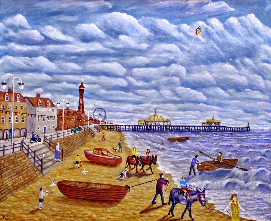 Blackpool Painting - Donkey Rides On Blackpool Beach by Ronald Haber