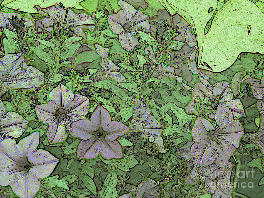 A Green & Violet Floral Scene Mixed Media - Donovans  Garden by Mark Herman