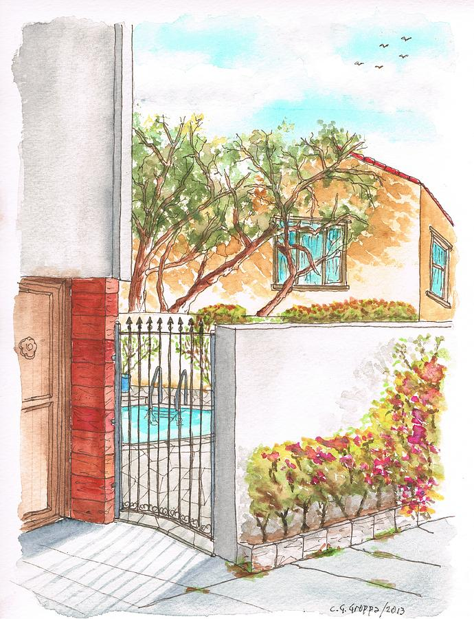 Door And Pool In Horn Drive - Hollywood Hills - California Painting