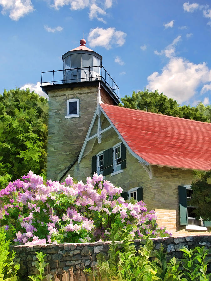 Door County Painting - Door County Eagle Bluff Lighthouse Lilacs by Christopher Arndt