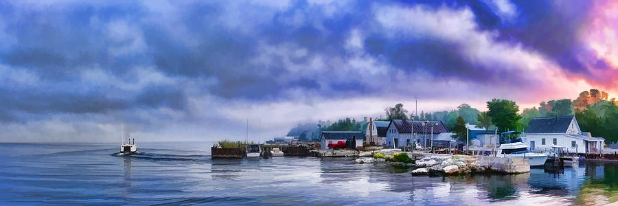Door County Gills Rock Morning Catch Panorama Painting  - Door County Gills Rock Morning Catch Panorama Fine Art Print