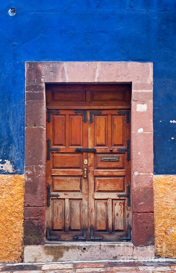 Door In Blue And Yellow Wall Photograph  - Door In Blue And Yellow Wall Fine Art Print