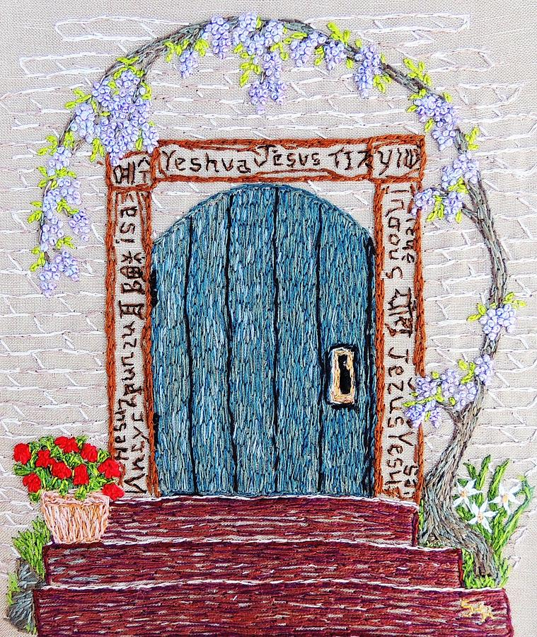 Door With Many Languages Tapestry - Textile