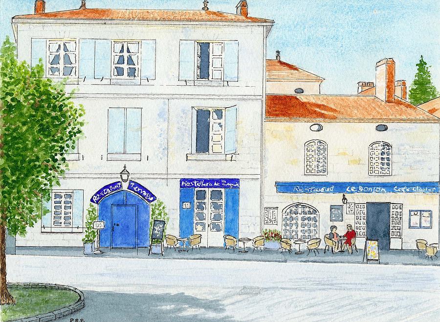 Dordogne - Bourdeilles deux Cafes Sil Vous Plait Painting