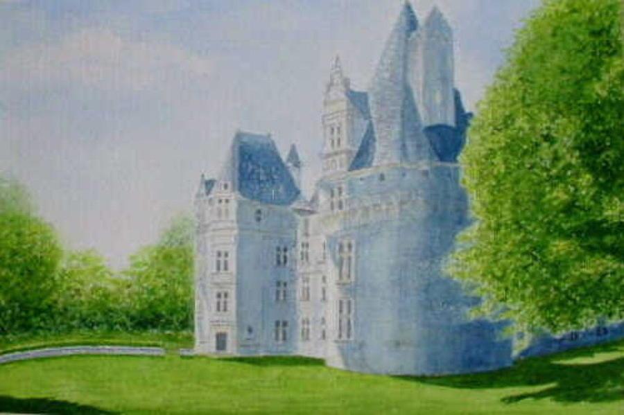 Dordogne - Chateau De Puyguilhem Painting