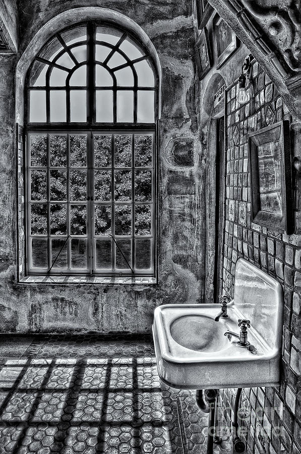 Dormer Bathroom Side View Bw Photograph  - Dormer Bathroom Side View Bw Fine Art Print