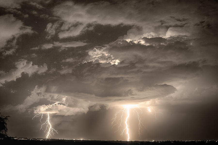 Double Lightning Strikes In Sepia Hdr Photograph