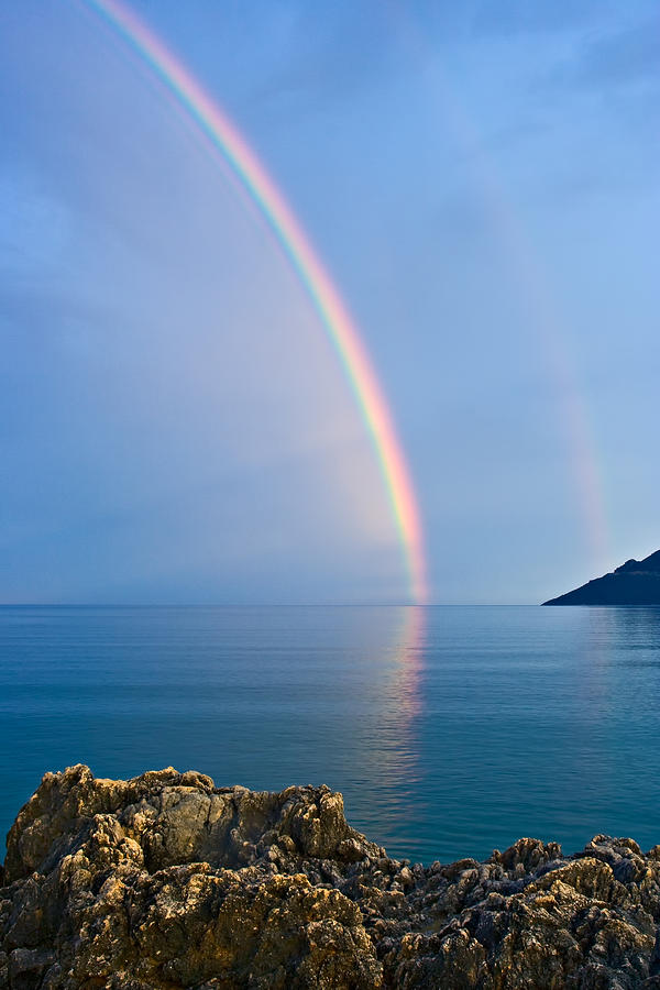 Aegean Photograph - Double Rainbow by Christos Andronis
