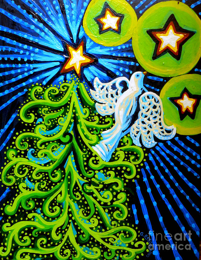 Dove And Christmas Tree Painting  - Dove And Christmas Tree Fine Art Print