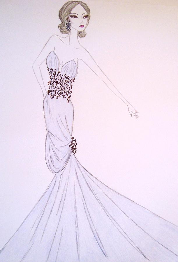 Dove Blue Gown Drawing  - Dove Blue Gown Fine Art Print