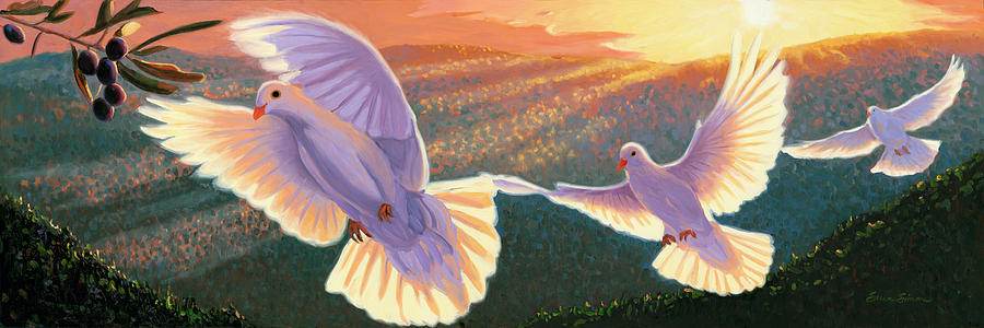 Doves And Olive Branch Painting