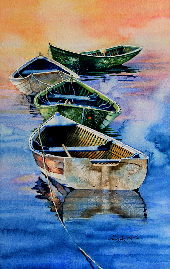Dory Painting - Down East Dories At Dawn by Hanne Lore Koehler