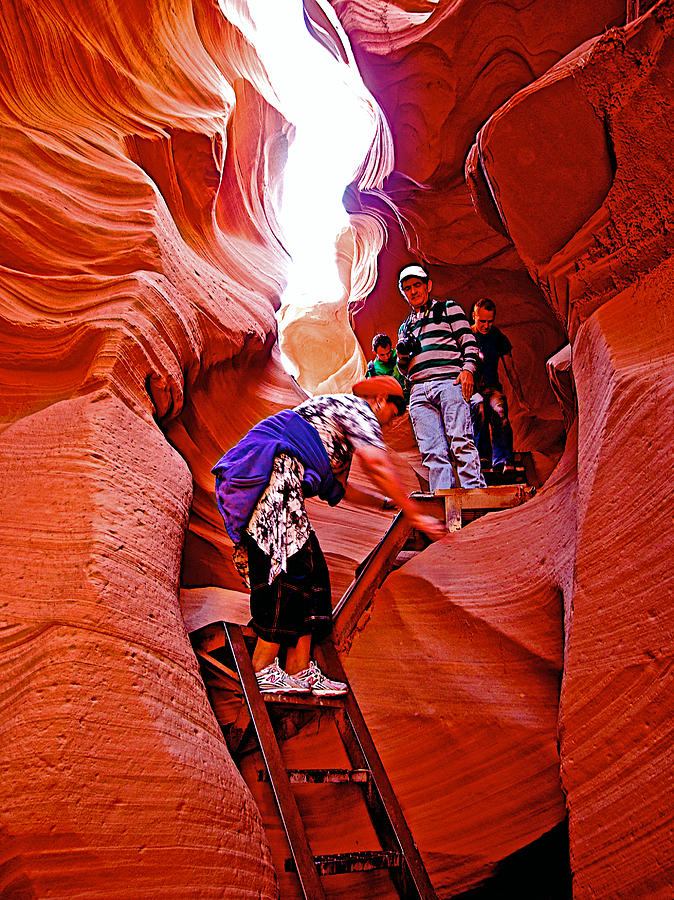 Down The Ladders Into Lower Antelope Canyon Arizona