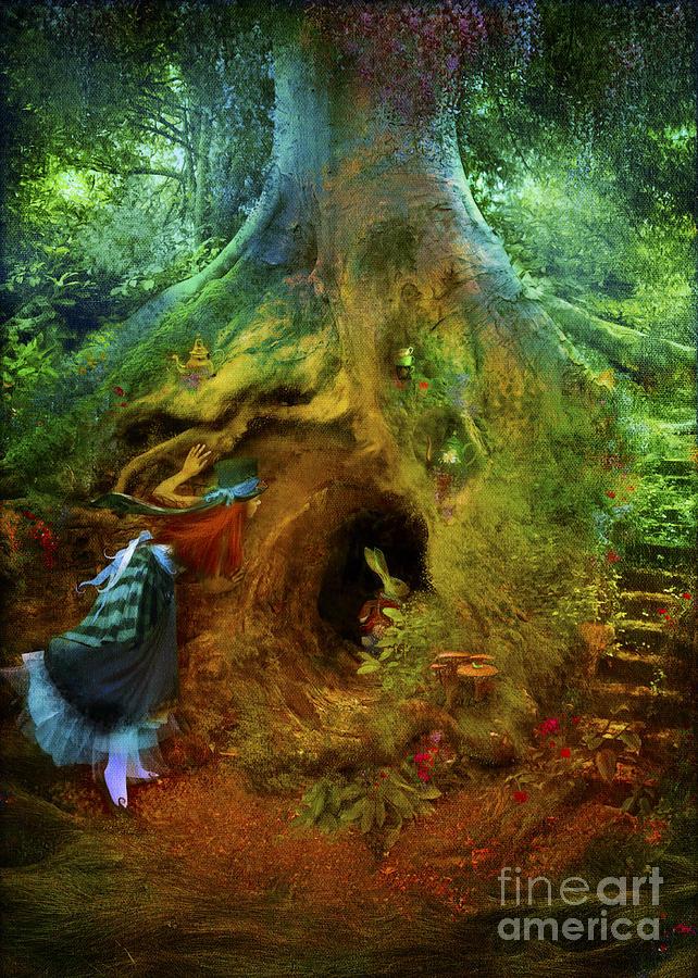 Wonderland Digital Art - Down The Rabbit Hole by Aimee Stewart