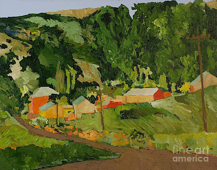 Landscape Painting - Down The Road by Allan P Friedlander