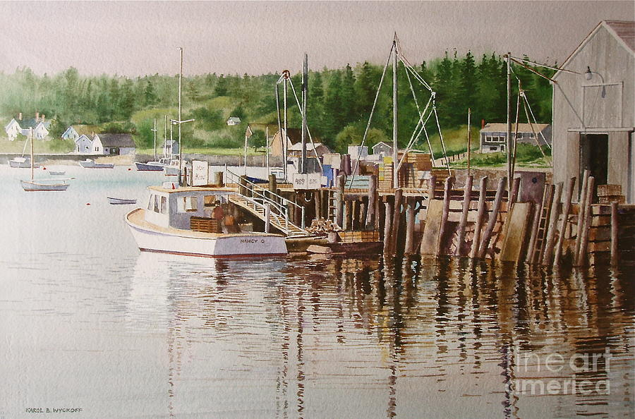Harbor Painting - Downeast Reflections by Karol Wyckoff
