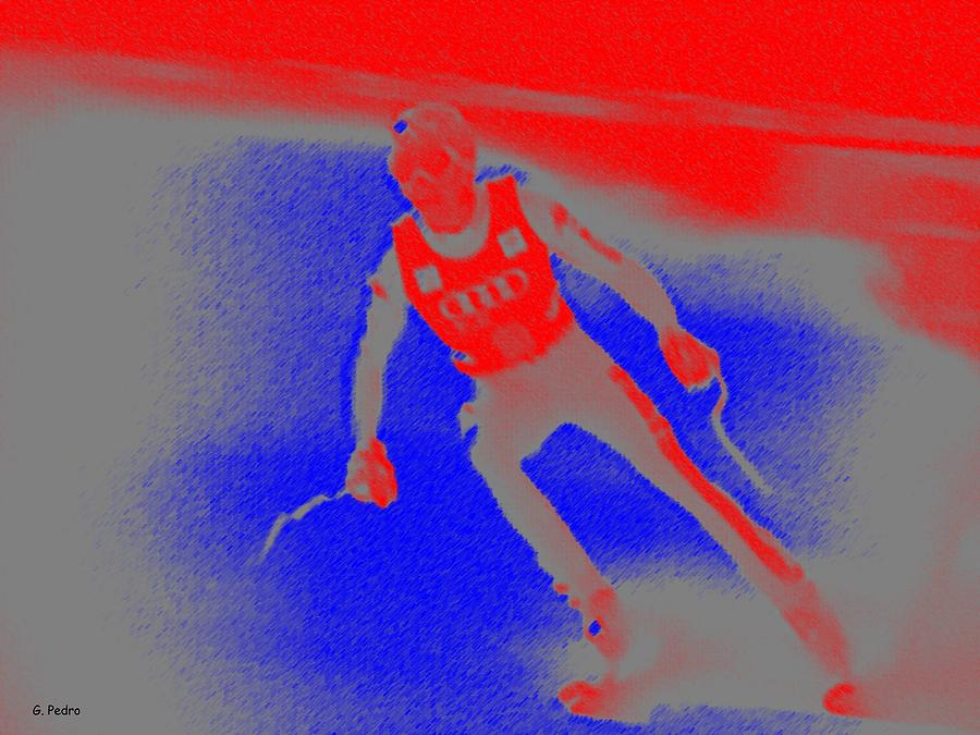 Skiing Digital Art - Downhill Skier by George Pedro