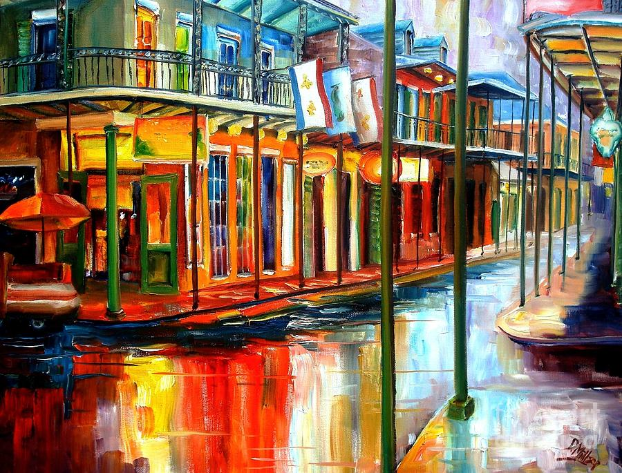 New Orleans Painting - Downpour On Bourbon Street by Diane Millsap