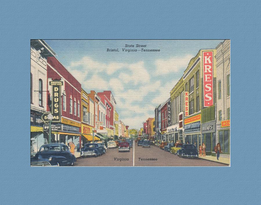 Vintage Postcard Digital Art - Downtown Bristol Va Tn 1940s by Denise Beverly