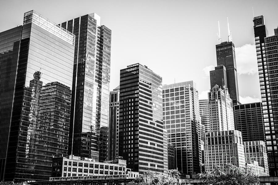 Downtown Chicago Buildings In Black And White Photograph
