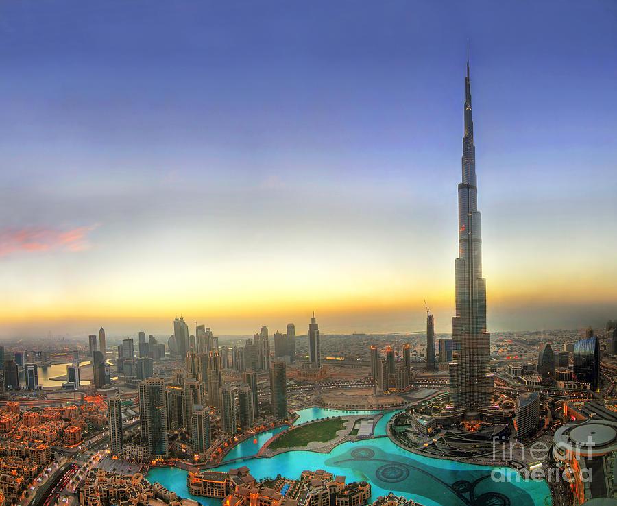 Downtown Dubai At Sunset Photograph