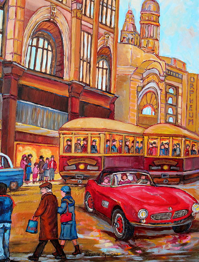 Downtown Montreal-streetcars-couple Near Red Fifties Mustang-montreal Vintage Street Scene Painting  - Downtown Montreal-streetcars-couple Near Red Fifties Mustang-montreal Vintage Street Scene Fine Art Print