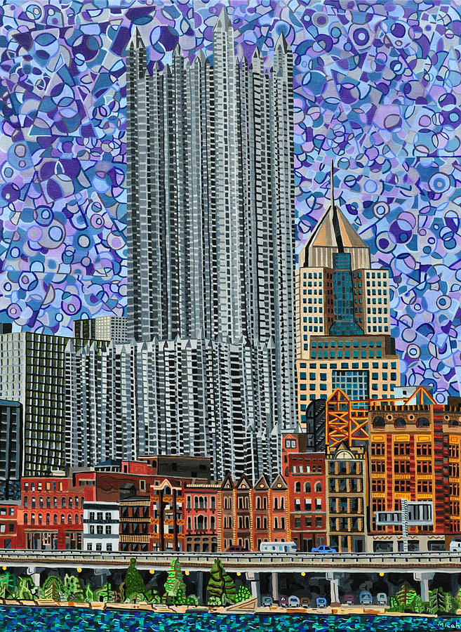 Downtown Pittsburgh - View From Smithfield Street Bridge Painting  - Downtown Pittsburgh - View From Smithfield Street Bridge Fine Art Print