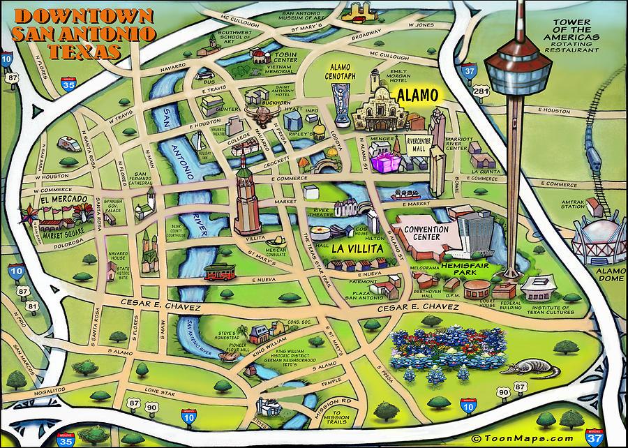 Downtown San Antonio Texas Cartoon Map Digital Art By