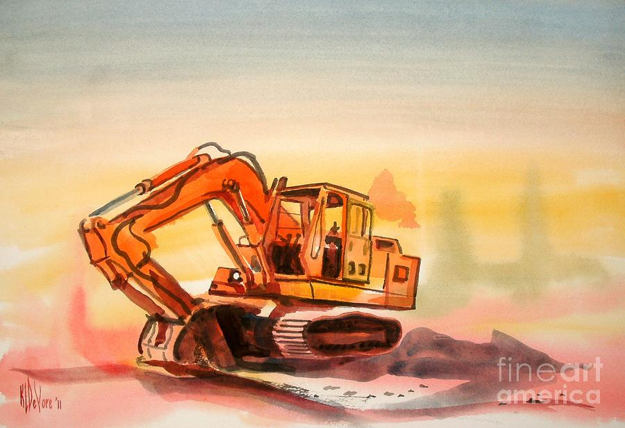Dozer In Watercolor  Painting