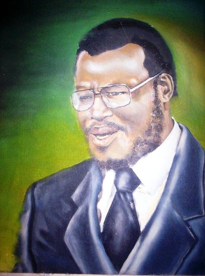 Thank You Painting - Dr Mangosuthu Buthelezi by Bongumusa  Hlongwa