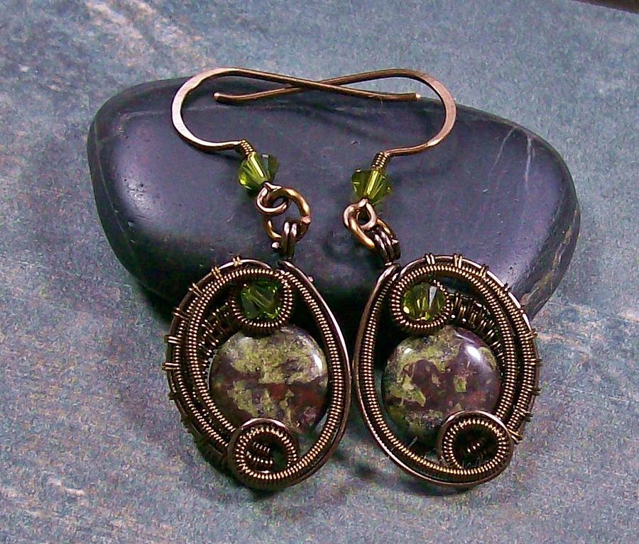 French Earwires Jewelry - Dragon Blood Jasper Bronze Woven Circle Earrings by Heather Jordan