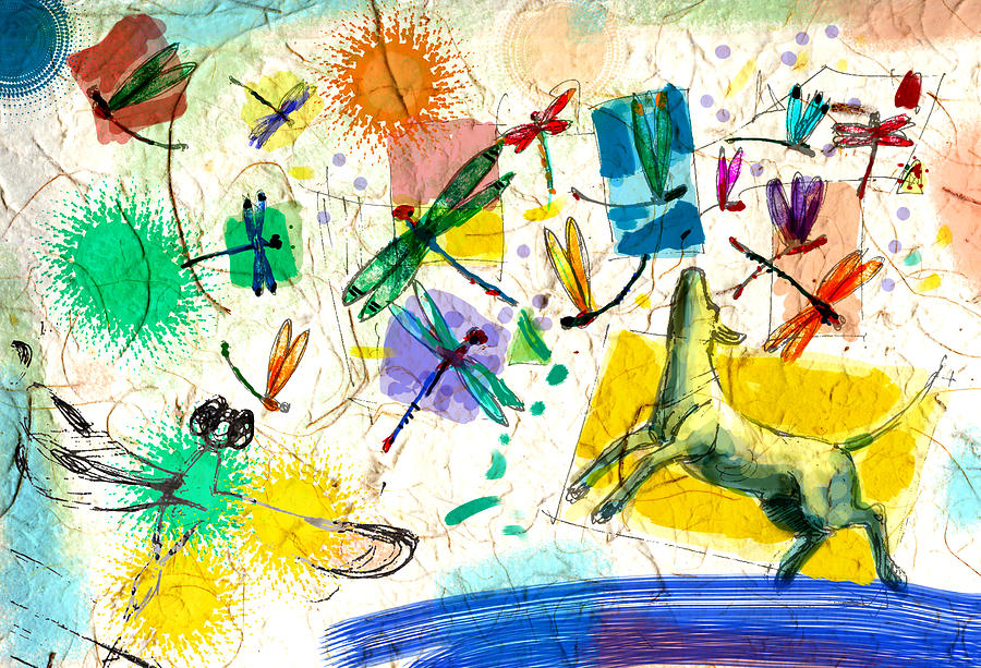 Dragonflies And Dog Digital Art