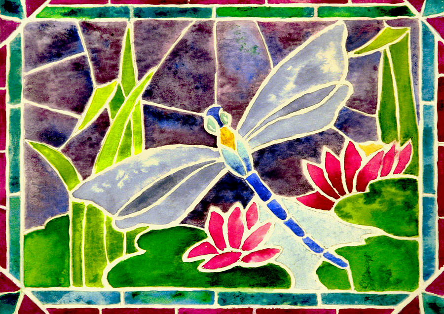 Dragonfly And Water Lily In Stained Glass Painting