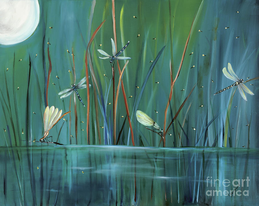 Dragonfly Painting - Dragonfly Diner by Carol Sweetwood