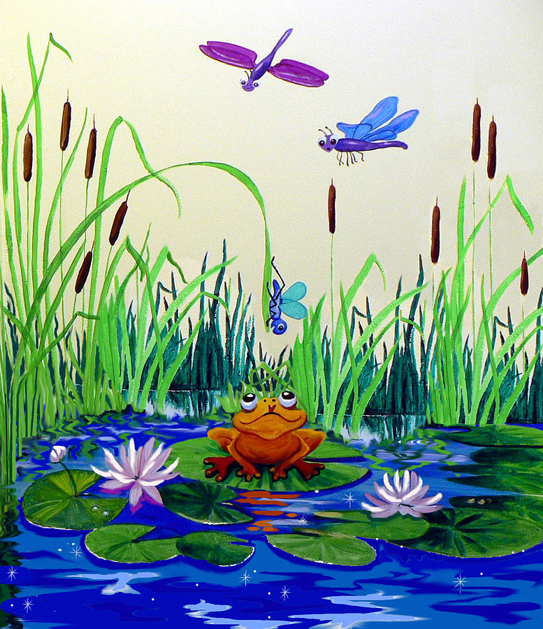 Dragonfly pond painting by hanne lore koehler for Dragonfly mural