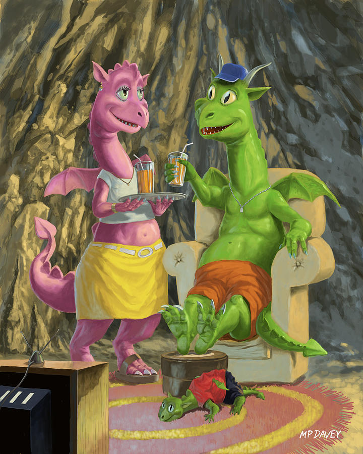 Dragon Painting - Dragons Relaxing At Home by Martin Davey