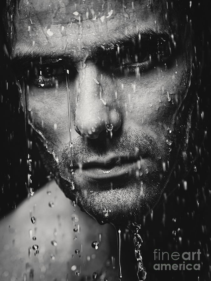 Dramatic Portrait Of Man Wet Face Black And White Photograph