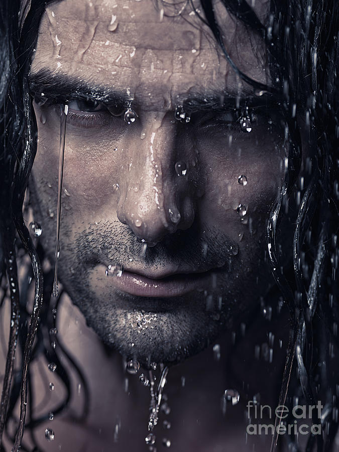 Dramatic Portrait Of Man Wet Face With Long Hair Photograph