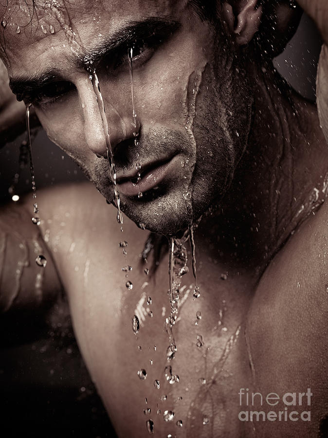 Dramatic Portrait Of Young Man Under A Shower Photograph