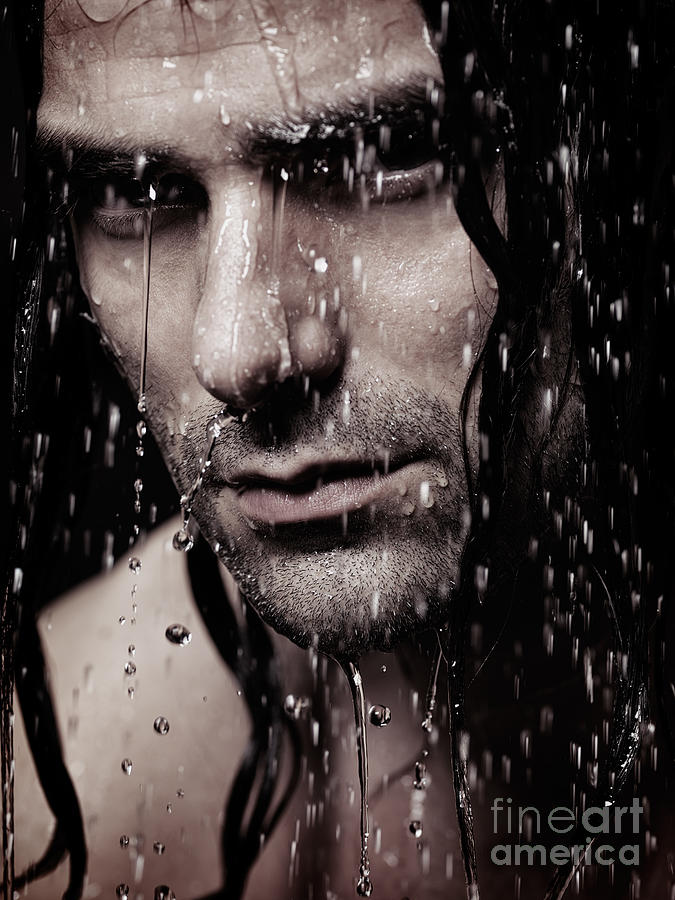 Dramatic Portrait Of Young Man Wet Face With Long Hair Photograph