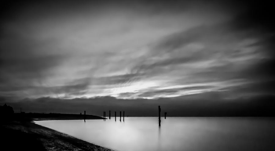 Dramatic Sunset In Black And White Photograph