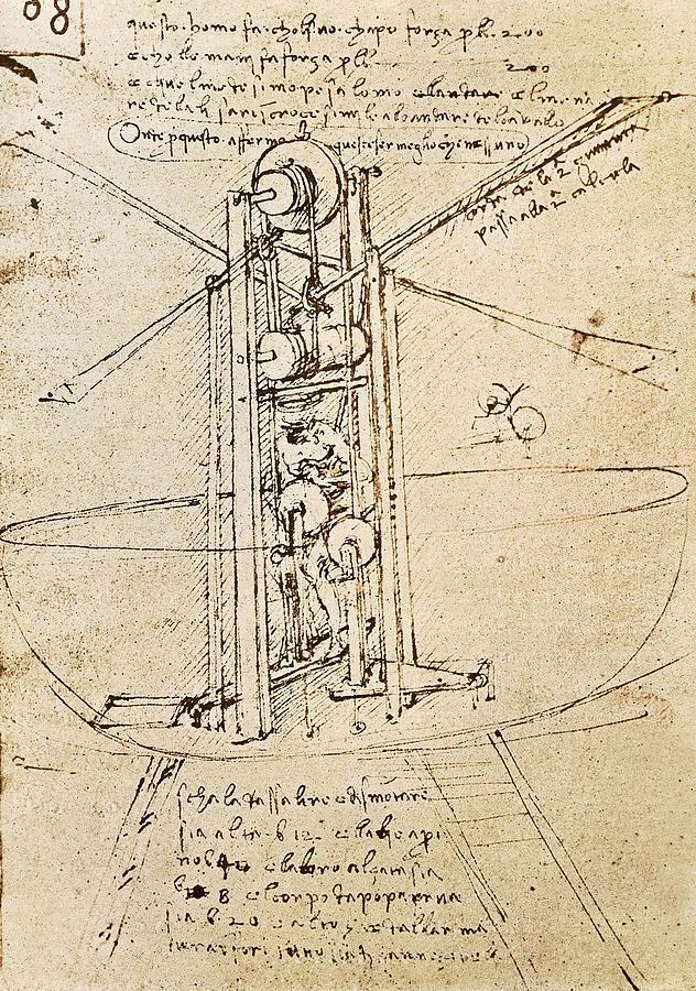 Vertical Photograph - Drawing By Leonardo Da Vinci.. Flying by Everett