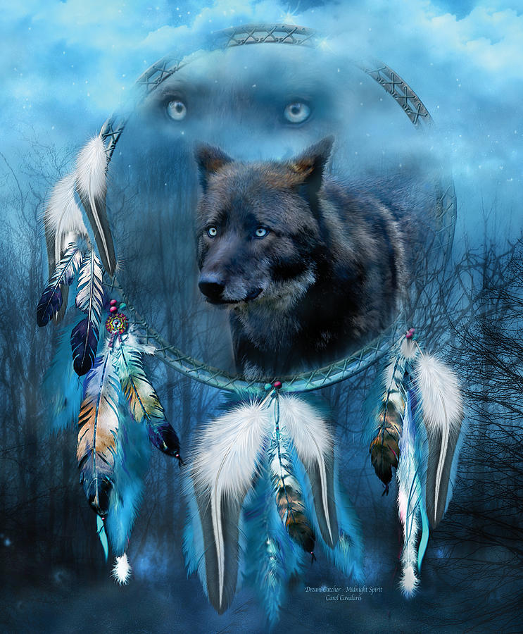 Dream Catcher - Midnight Spirit Mixed Media  - Dream Catcher - Midnight Spirit Fine Art Print