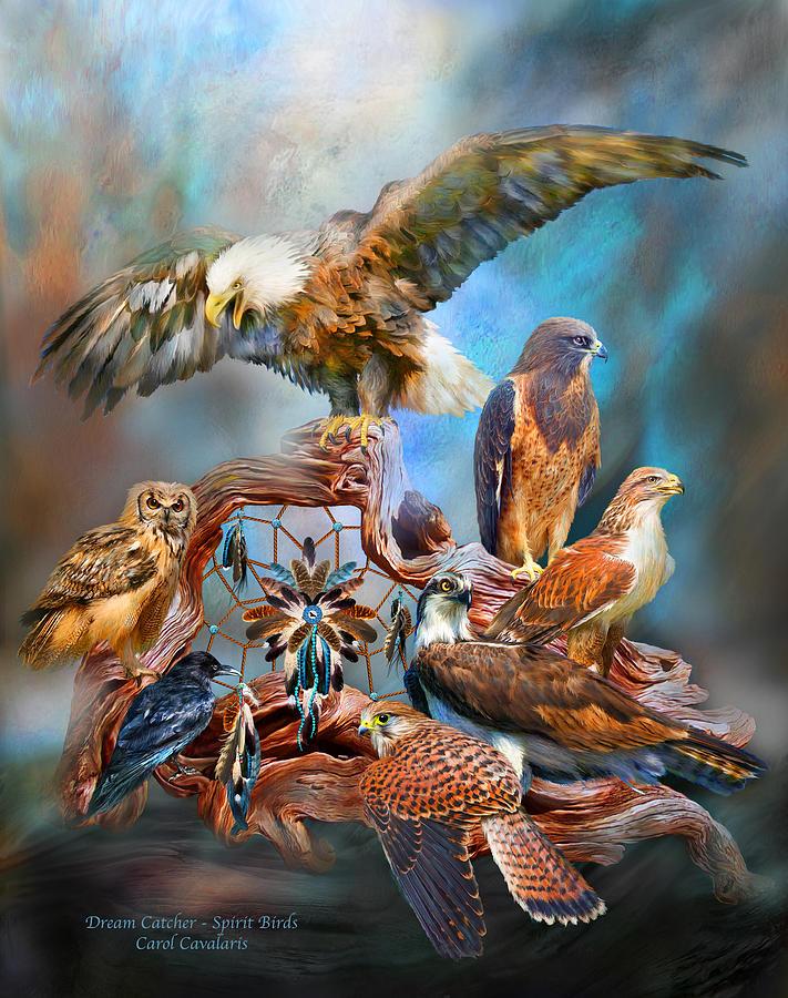 Carol Cavalaris Mixed Media - Dream Catcher - Spirit Birds by Carol Cavalaris