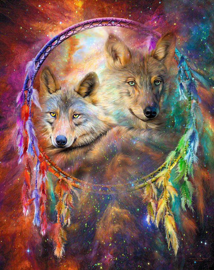 Dream Catcher - Wolf Spirits is a mixed media by Carol Cavalaris which ...