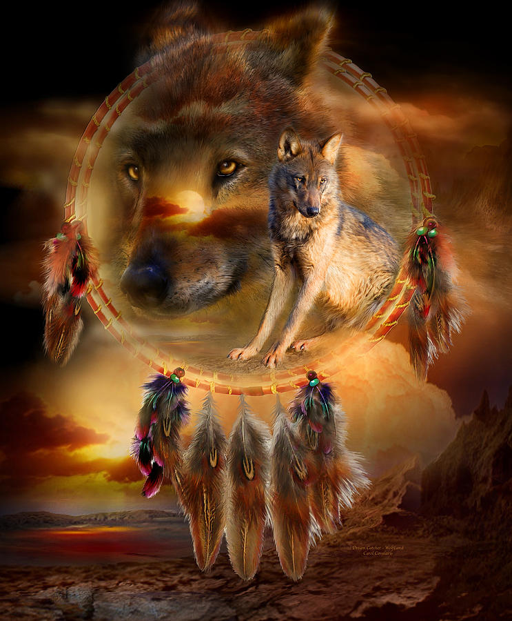Dream Catcher - Wolfland Mixed Media  - Dream Catcher - Wolfland Fine Art Print